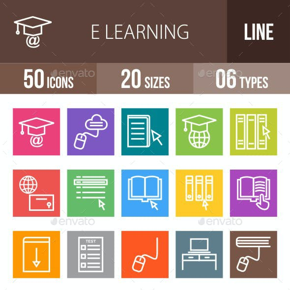 E Learning Line Multicolor Icons