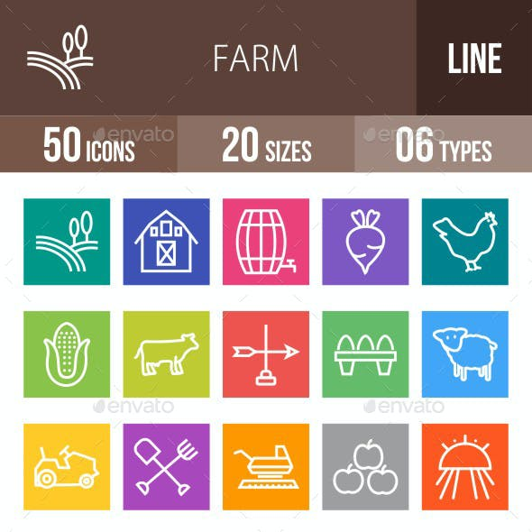 Farm Line Multicolor Icons