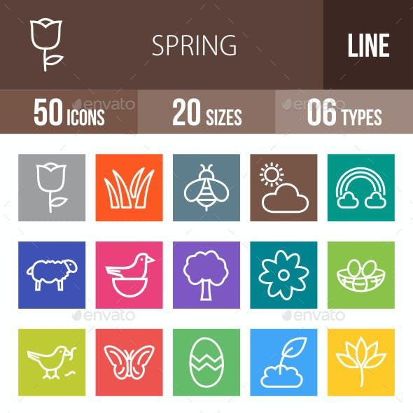 Spring Line Multicolor Icons