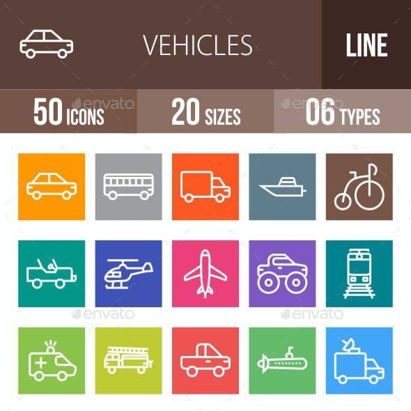 Vehicles Line Multicolor Icons