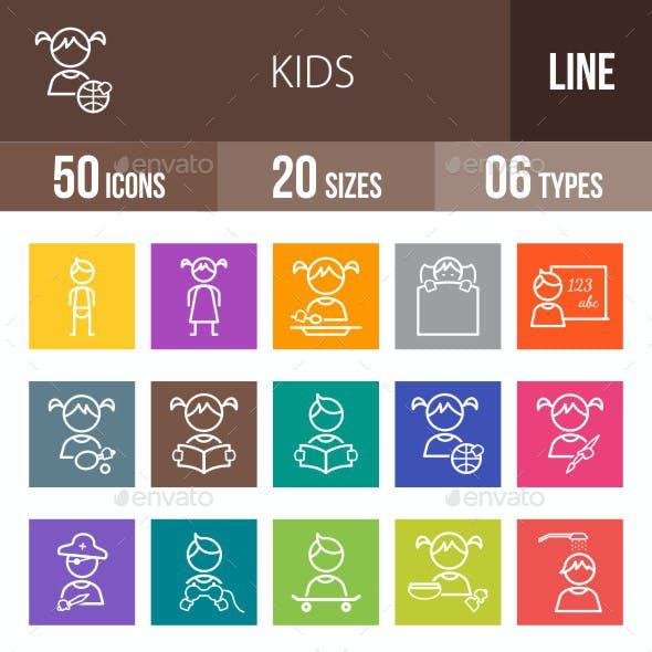 Kids Line Multicolor Icons