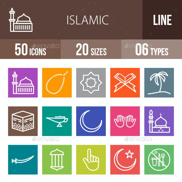 Islamic Line Multicolor Icons