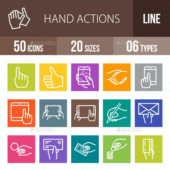 Hand Actions Line Multicolor Icons