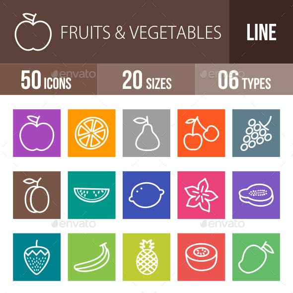 Fruits & Vegetables Line Multicolor Icons