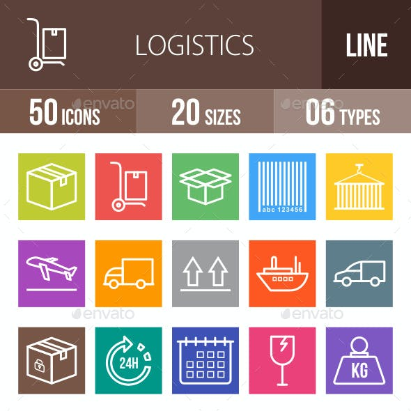 Logistics Line Multicolor Icons
