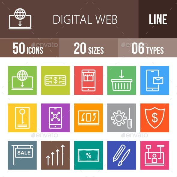Digital Web Line Multicolor Icons