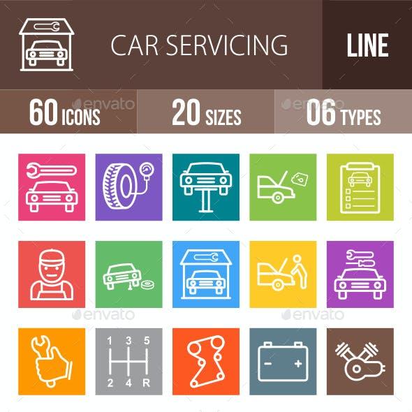 Car Servicing Line Multicolor Icons