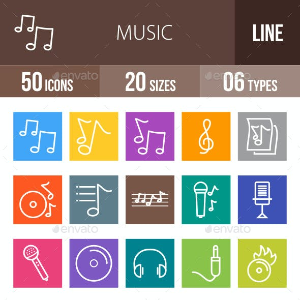 Music Line Multicolor Icons