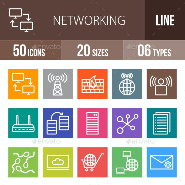 Networking Line Multicolor Icons