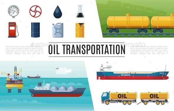Flat Oil Industry Elements Set - Miscellaneous Vectors