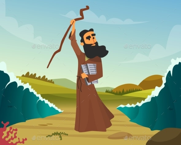 Vector Historical Illustration of Biblical Story - People Characters