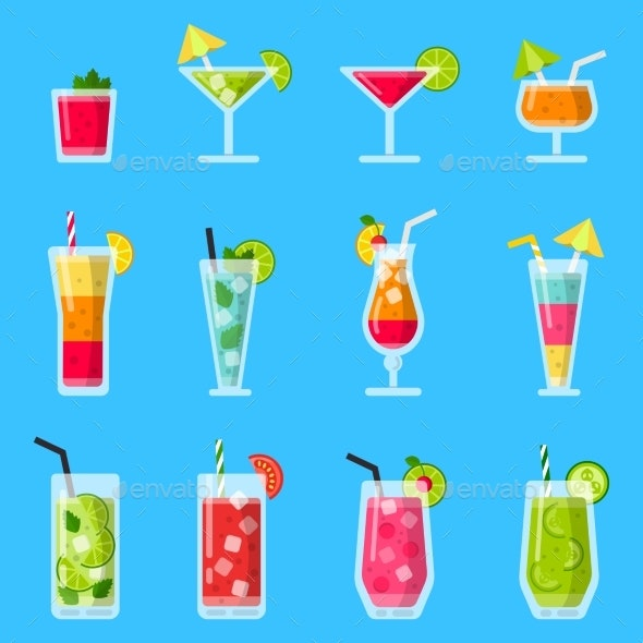 Various Fresh Juice and Cocktails. - Objects Vectors