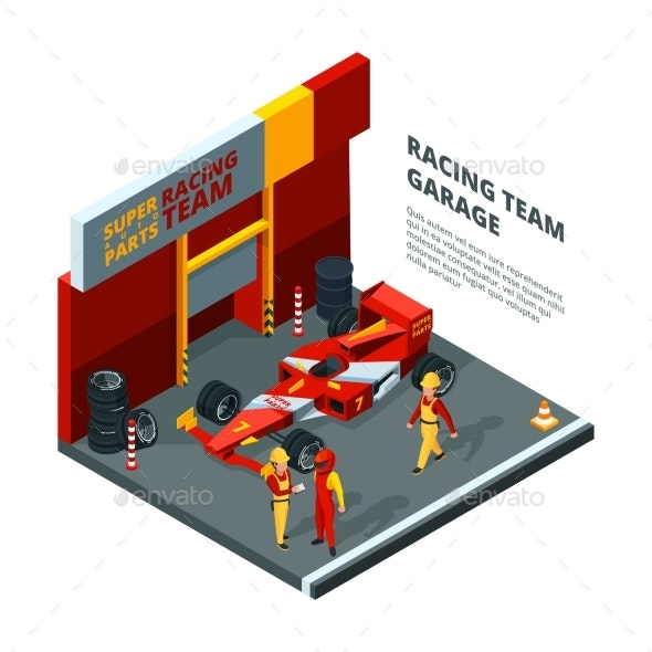 Race Car at Station. Isometric Composition Isolate - Objects Vectors