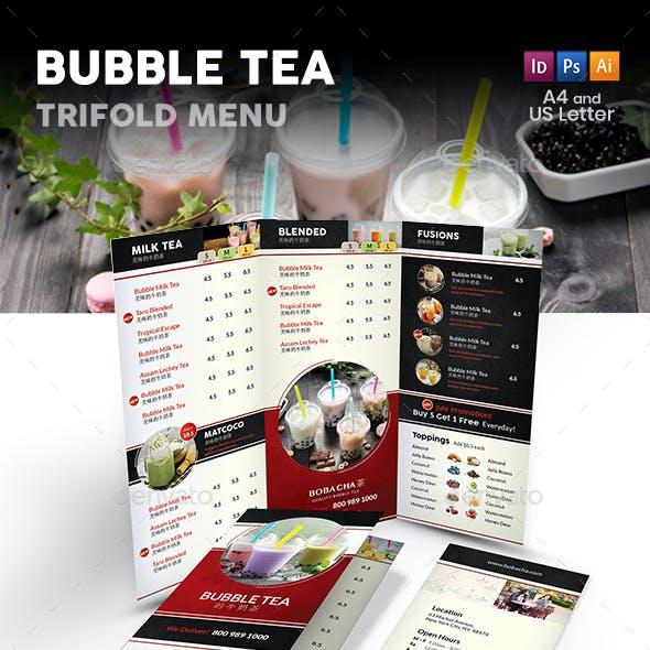 Bubble Tea Cafe Trifold Menu 2
