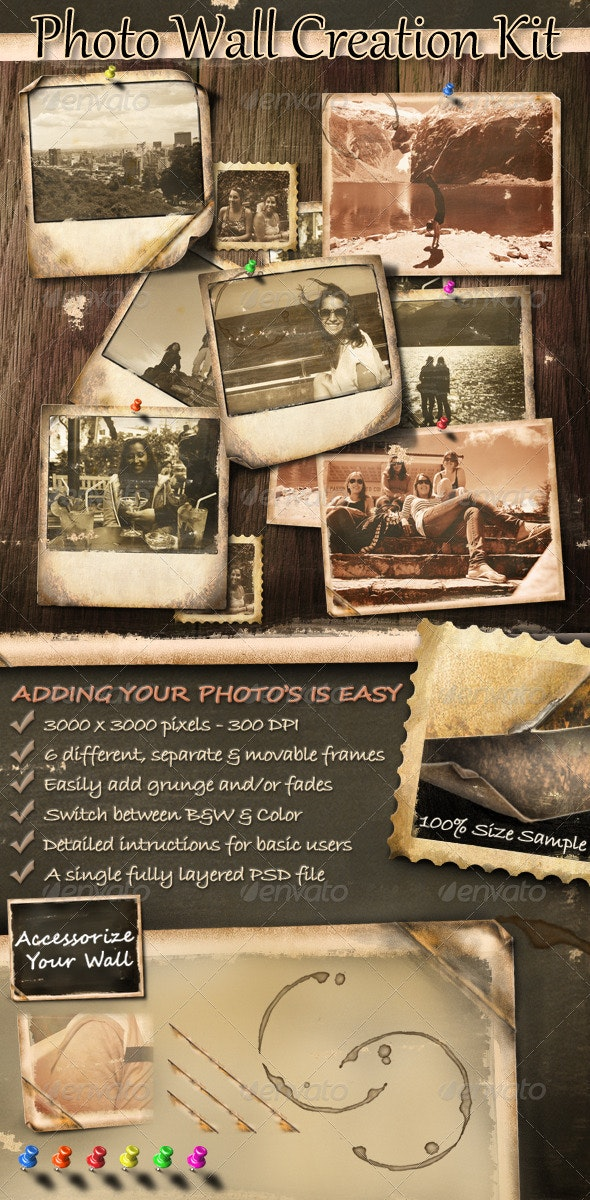 Photo Wall Creation Kit - Photo Templates Graphics
