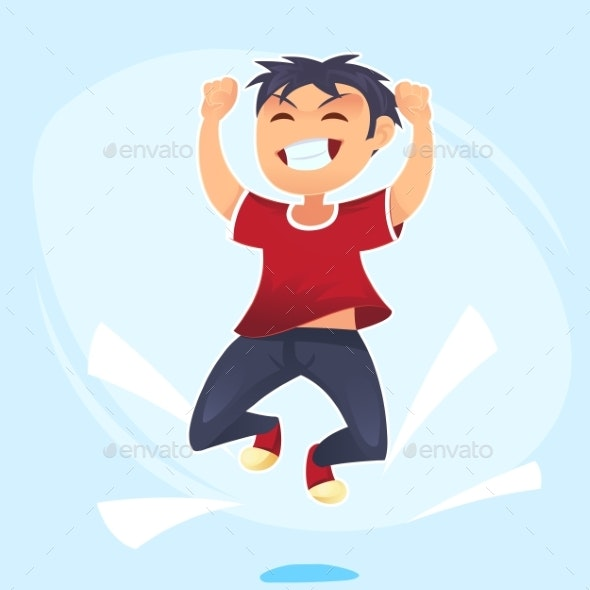 Cartoon Character of Boy Jumping - People Characters
