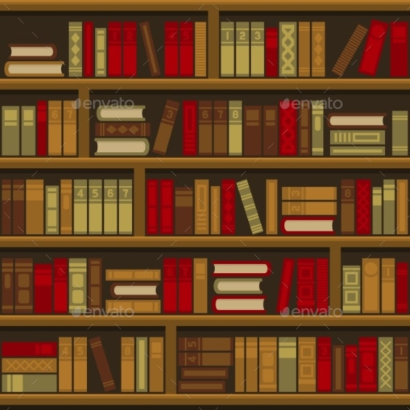 Library Book Shelf Seamless Background - Miscellaneous Vectors