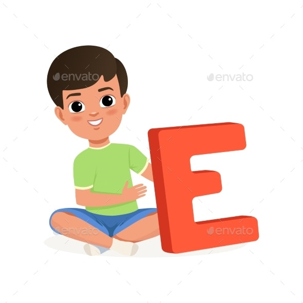 Boy Sitting with Crossed Legs and Holding Letter - Miscellaneous Vectors