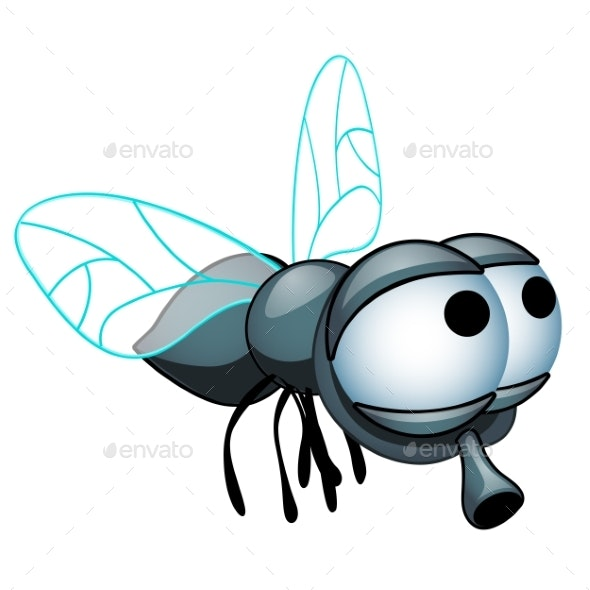 Cartoon Fly With Big Eyes Isolated By Lady-Luck