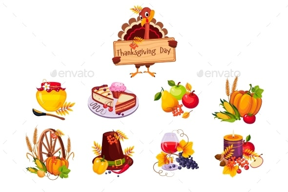 Thanksgiving Day Traditional Dishes Set - Food Objects