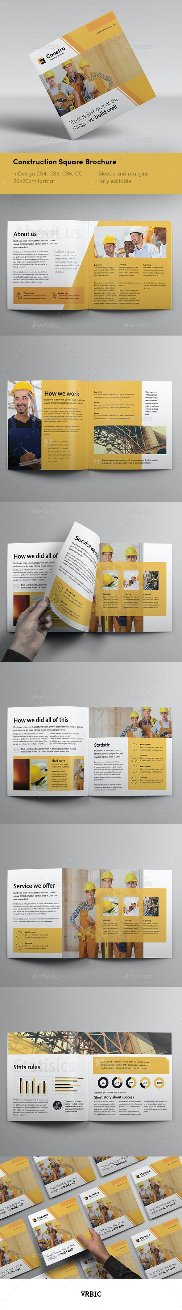 Construction Square Brochure - InDesign Template - Brochures Print Templates