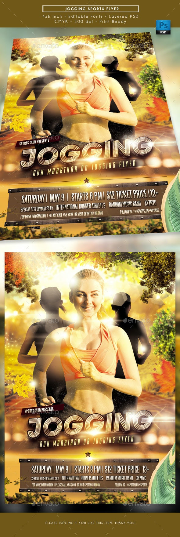 Jogging Sports Flyer - Sports Events