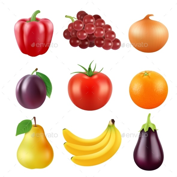 Realistic Vector Pictures of Fresh Fruits and Vegetables - Food Objects