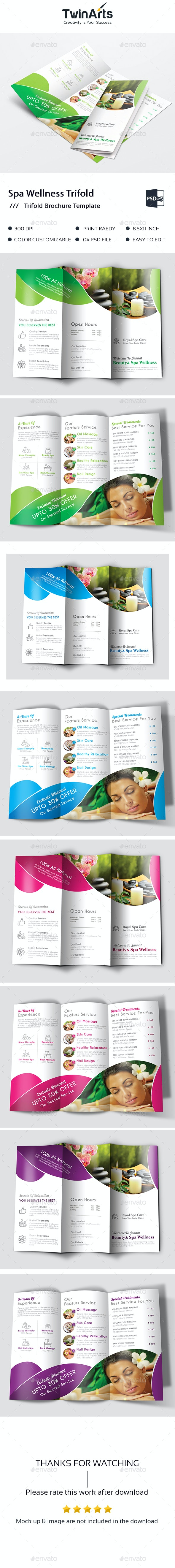 Spa Wellness Trifold Brochure. - Brochures Print Templates
