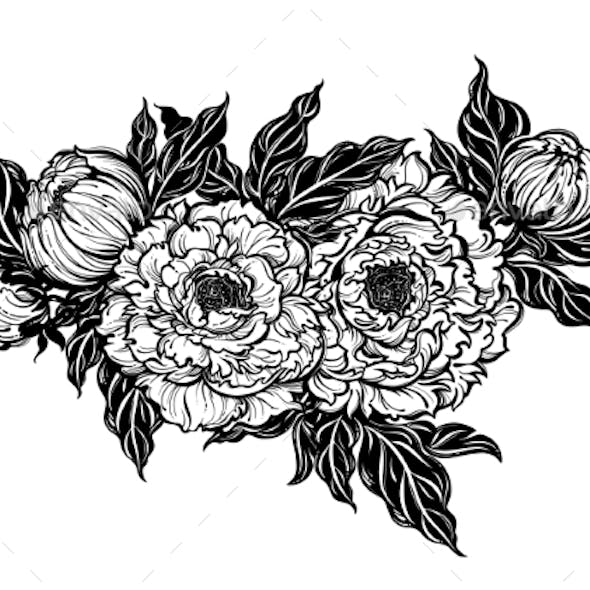 Peony Flower with Leaves