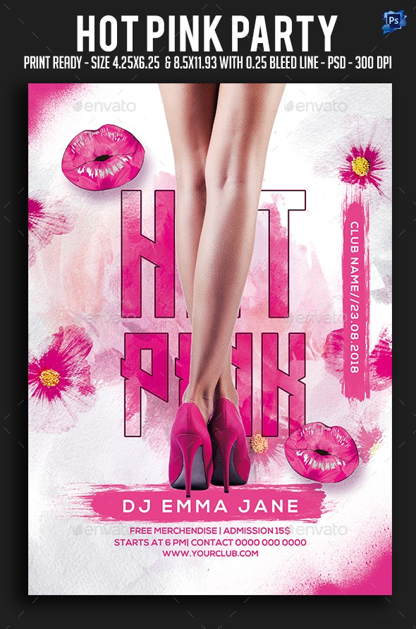 Hot Pink Party Flyer - Clubs & Parties Events