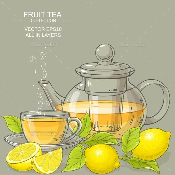 Lemon Tea Vector Illustration - Food Objects