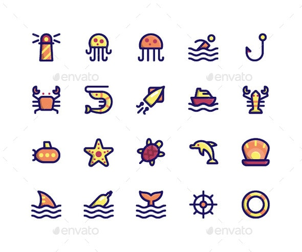 Maritime Filled Line Icons - Icons