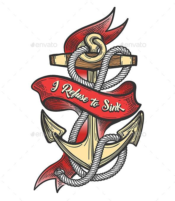 Ship Anchor Colorful Tattoo - Tattoos Vectors