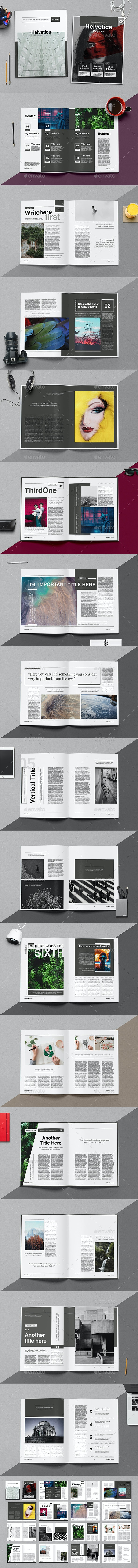 Helvetica Magazine Indesign Template - Magazines Print Templates