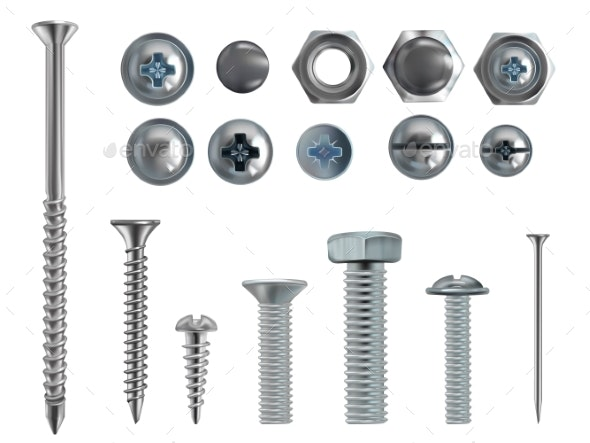 Vector Realistic Steel Bolts Nails and Screws - Man-made Objects Objects