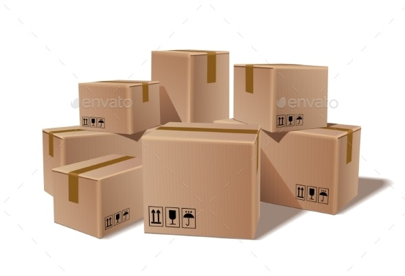 Pile of Stacked Cardboard Boxes - Miscellaneous Vectors