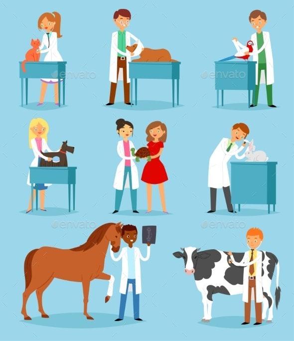 Veterinary Vector Veterinarian Doctor Man or Woman - Health/Medicine Conceptual