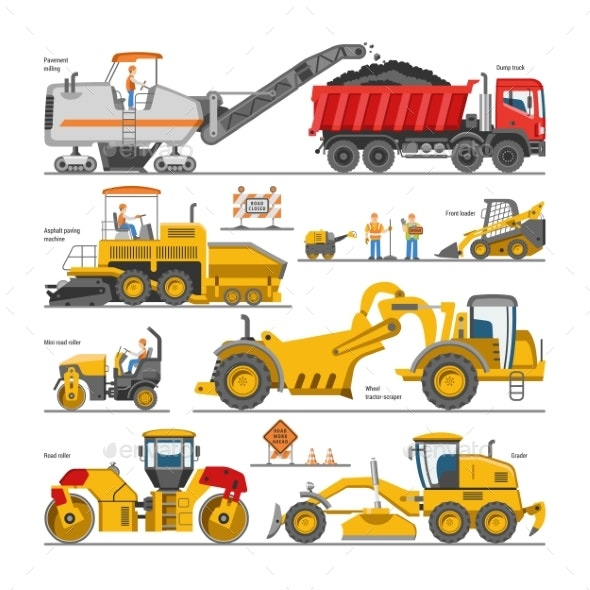 Road Construction Vectors - Industries Business