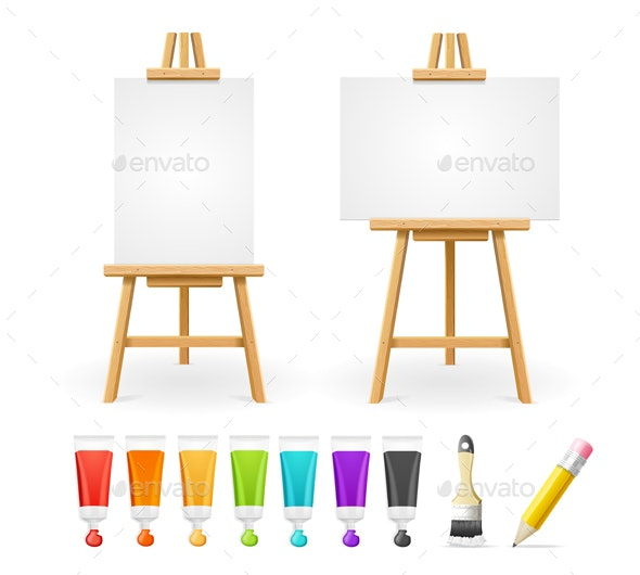 Board Easel Blank Empty Template and Paint Set - Man-made Objects Objects