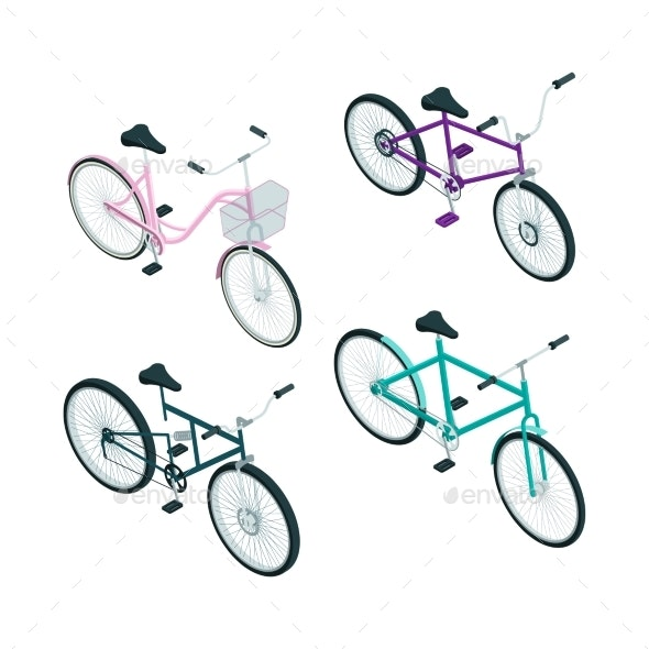 Isometric Bikes - Man-made Objects Objects