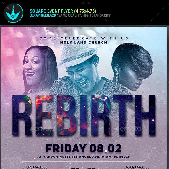 Rebirth Gospel Concert Square Flyer Template