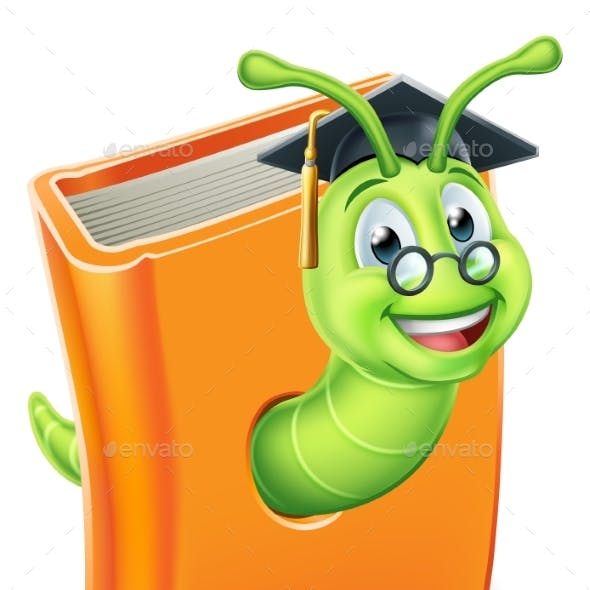 Graduate Worm Bookworm Caterpillar in Book