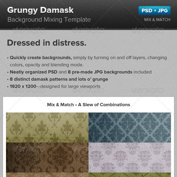 Grunge Damask Background Mixing Template