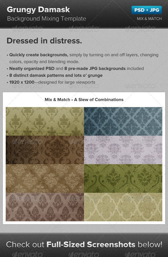 Grunge Damask Background Mixing Template - Backgrounds Graphics