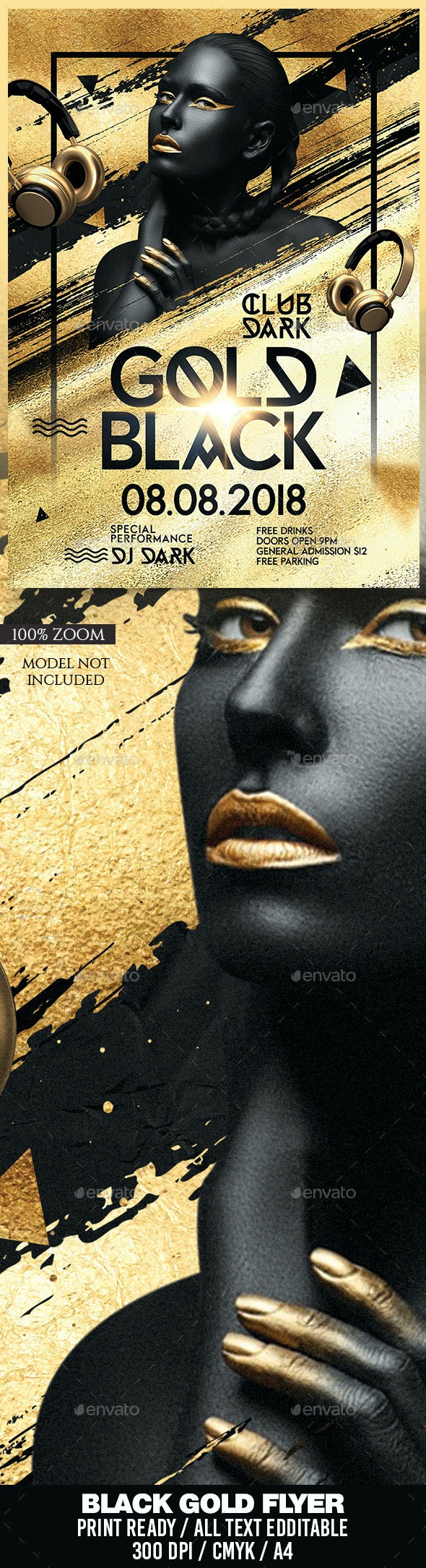 Gold Black Party Flyer - Clubs & Parties Events
