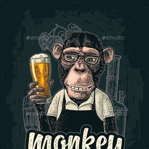 Monkey Dressed in Apron Holding Beer Glass
