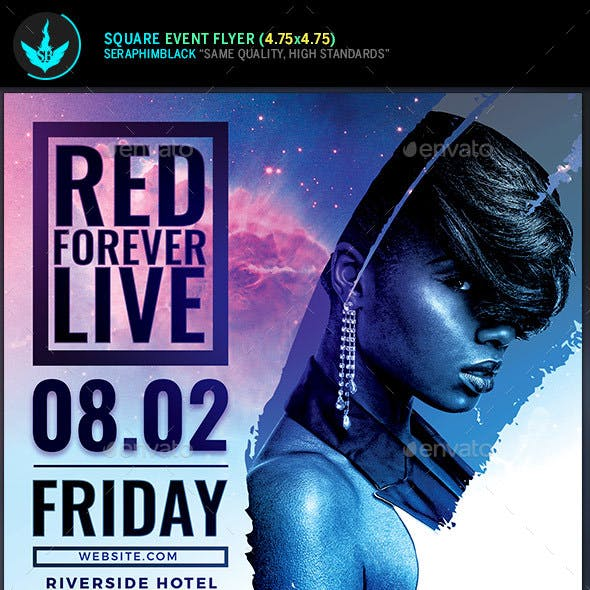 Live Concert Square Flyer Template