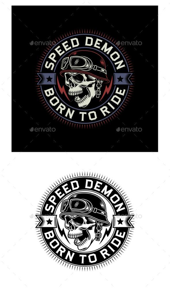 Vintage Biker Skull Emblem on Black and White Background - Decorative Symbols Decorative