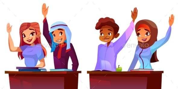 Vector College Students - People Characters