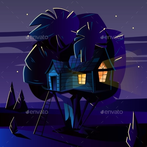 Vector Cartoon Tree House at Night - Buildings Objects